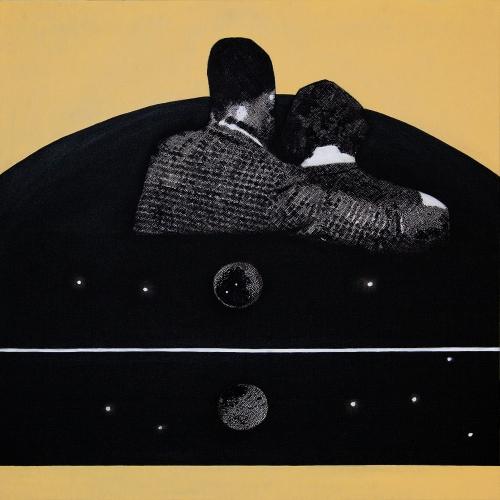 EŞLİK-Tuval üzerine akrilik ve mürekkepli kalem-98x98cm-2013