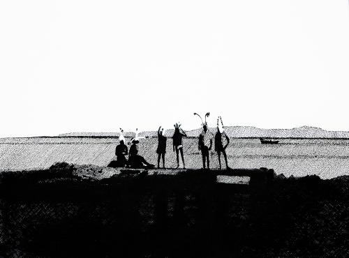 PLAJ  DEPRESYONU 2-Tuval üzerine akrilik ve mürekkepli kalem-109x80 cm-2012